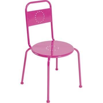 Chaise de jardin en fer Charlotte, rose shocking n°3 | Leroy Merlin