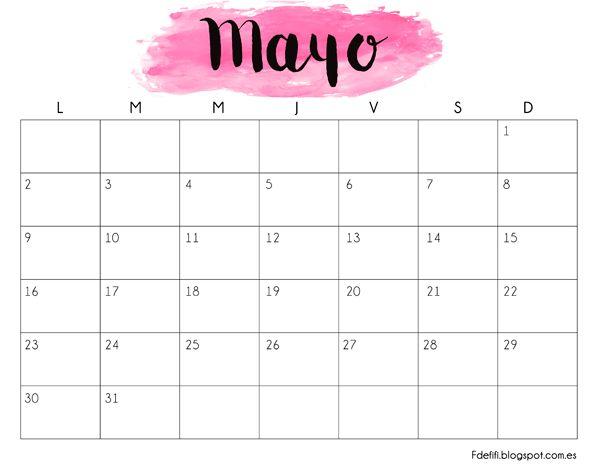 Bonito calendario imprimible y descargable para el mes de mayo de 2016