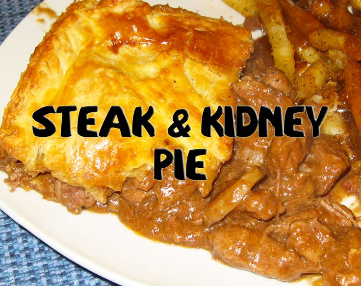 Steak and kidney pie is a savoury pie that is filled principally with a mixture of diced beef, diced kidney (often of ox, lamb, or pork), fried onion, and brown gravy.
