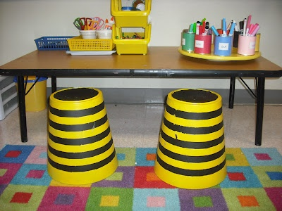 These Bee Themed Seats Are Made Out Of Ikea Trash Cans Classroom OrganizationClassroom DecorClassroom