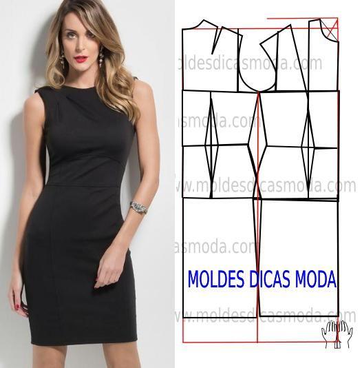 Analise de forma detalhada o desenho do molde vestido preto. Vestido simples e arrojado que veste de forma muito elegante. Este trabalho tem como objectivo