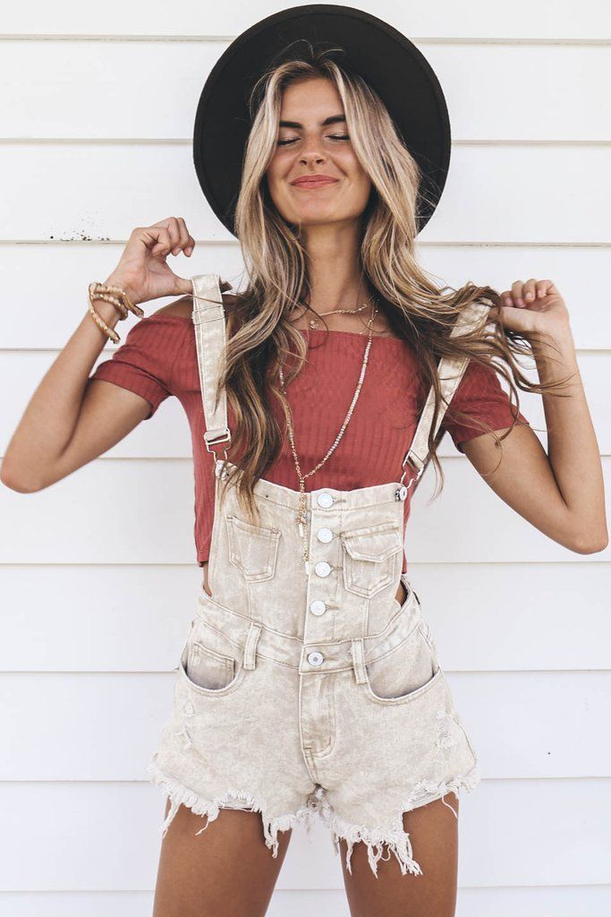 - Taupe denim overalls have button down front, pockets, and are adjustable - Material is Cotton - Not Lined - Model Victoria is 5'9 wearing a small Shop the look Bust Length Inseam Small 10 26.5 2.5 M
