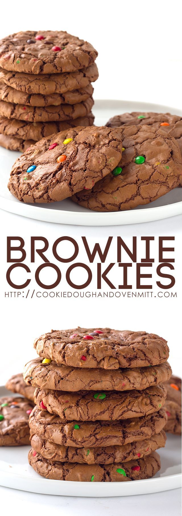 These shiny crinkle topped brownie cookies are perfection! They're loaded with M&M's and semi-sweet chocolate chips. They look and taste like a brownie!