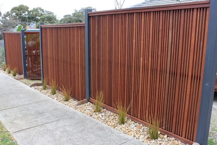 Merbau front feature fence