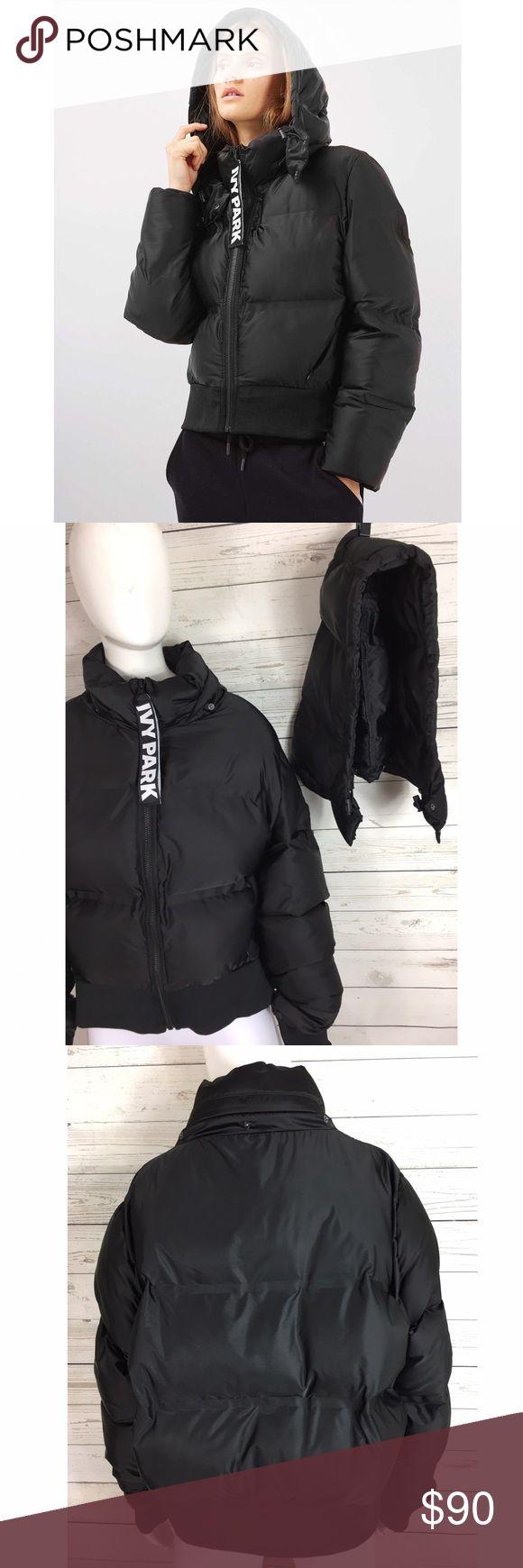 "Ivy Park Black Cropped Puffer Jacket Sz L Detachable hood. Oversized logo zipper pull. 100% polyester. Measurements laid flat; 24"" armpit to armpit. 22"" shoulder to hem. Ivy Park Jackets & Coats Puffers"