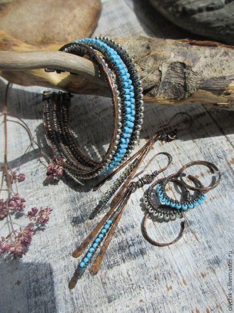 """Купить Комплект украшений серьги, браслет и набор колец """"Капли дождя"""" - ручная работа, Бижутерия"""
