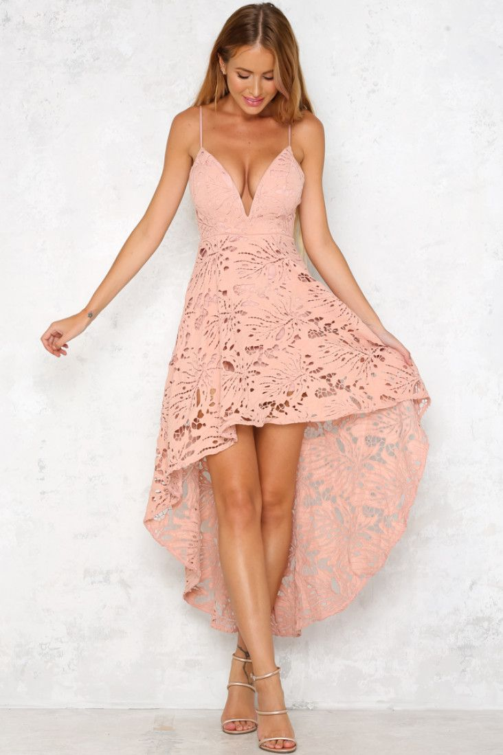 The Sunset Dance Maxi Dress is sleeveless, with thin spaghetti straps, a padded bust and a plunging necklace. We love the exquisite lace detailing and hi-low hem! Wear with nude heels and delicate gold jewellery!  Blush maxi dress. Half lined. Cold hand wash only. Model is a standard XS and is wearing XS. True to size. Non stretchy fabric. Polyester.
