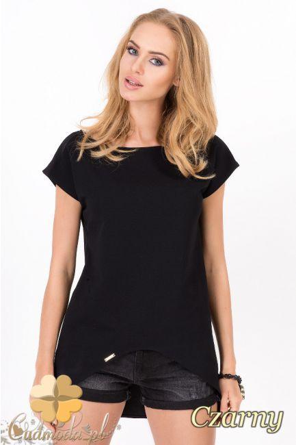 Stylowa, asymetryczna bluzka damska z krótkim rękawem wyprodukowana przez Makadamia.  #cudmoda #moda #styl #ubrania #odzież #clothes #fashion