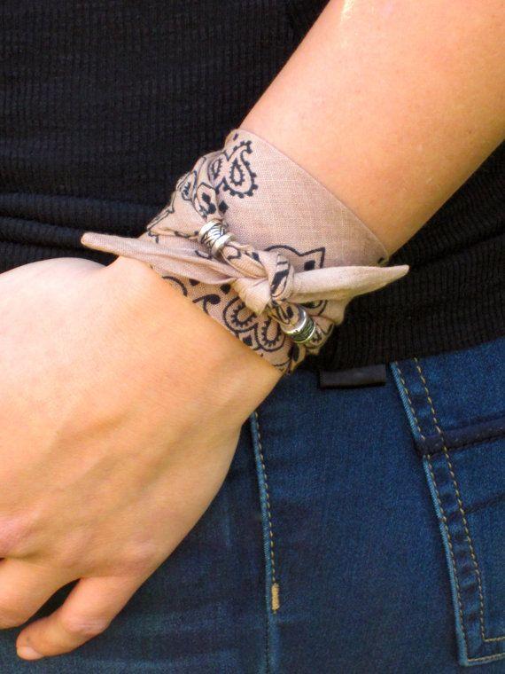 Nude Bandana Tie Wrap Bracelet