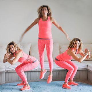 """#vardagspulshälsotips från @lifebyleila - rotationshopp! """"Ställ dig med fötterna höftbrett och sätt dig ner i ett benböj, hoppa upp och vrid fötterna åt höger, landa mjukt och kontrollerat. Böj knäna igen och hoppa upp för att landa med fötterna åt vänster. Tänk att du ska vara lågt ned när du böjer knäna och högt upp i hoppen. Se om du kan hålla överkroppen rakt fram och rakt upp genom hela rörelsen. Kan du inte hoppa så gör du benböj istället och varierar mellanrummet mellan fötterna…"""