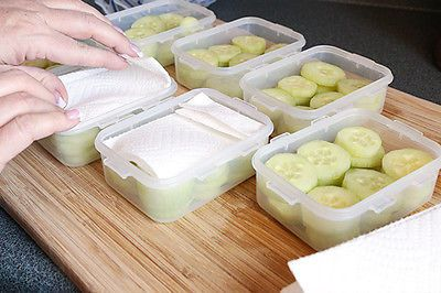 Simply fill your storage container with the cucumbers slices (or spears if you prefer). Use enough paper towels to give yourself a double layer. For small containers I cut a paper towel in half and then fold it to fit. Place the paper towel on top of the container. Yes, I said on top. Keep reading it will make sense in a minute. The real trick here is to store the cucumbers upside down. The moisture will collect in the paper towels, keeping your cucumbers fresh and crisp. Mine last for at…