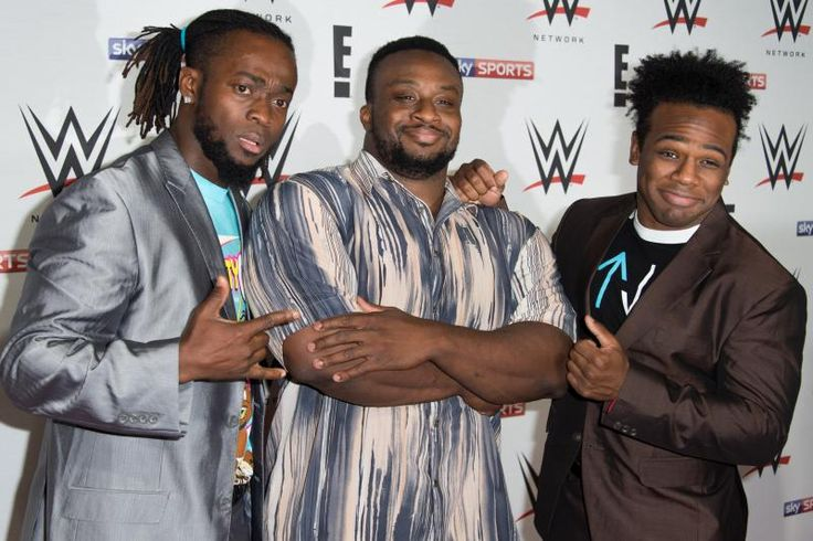 LONDON, ENGLAND - APRIL 18:  (L-R) Kofi Kingston, Big E and Xavier Woods of 'New Day' arrive for WWE RAW at 02 Brooklyn Bowl on April 18, 2016 in London, England.  (Photo by Ian Gavan/Getty Images)