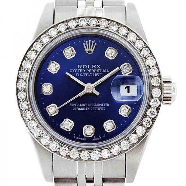 Pre-owned Rolex Datejust Oyster Perpetual 69174 Stainless Steel Blue... ($4,513) ❤ liked on Polyvore featuring jewelry, watches, blue crown, blue dial watches, pre owned watches, stainless steel jewelry and rolex wrist watch