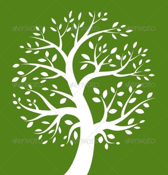 White Tree Icon on Green Background