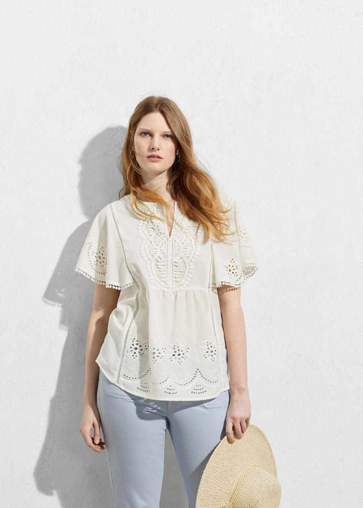 Embroidered cotton blouse   VIOLETA BY MANGO