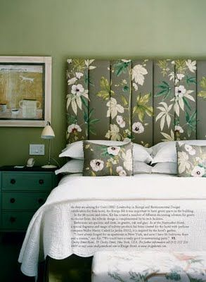 Green & Grey Bedroom Palette- so soft and inviting.  My favourite is the headboard and the way the same pattern is used in the upholstery and the throw pillows.