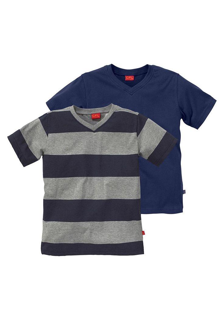 Produkttyp , T-Shirt, |Qualitätshinweise , Hautfreundlich Schadstoffgeprüft, |Materialzusammensetzung , Obermaterial: 100% Baumwolle (unterstützt Cotton made in Africa) . Oberteil: 90% Baumwolle, 10% Polyester, |Material , Baumwolle, Jersey, |Farbe , Marine-Grau-Gestreift, |Schnittform/Länge , gerade, |Ausschnitt , V-Ausschnitt, |Ärmelstil , Kurzarm, |Armabschluss , Kante abgesteppt, |Saumabsch...