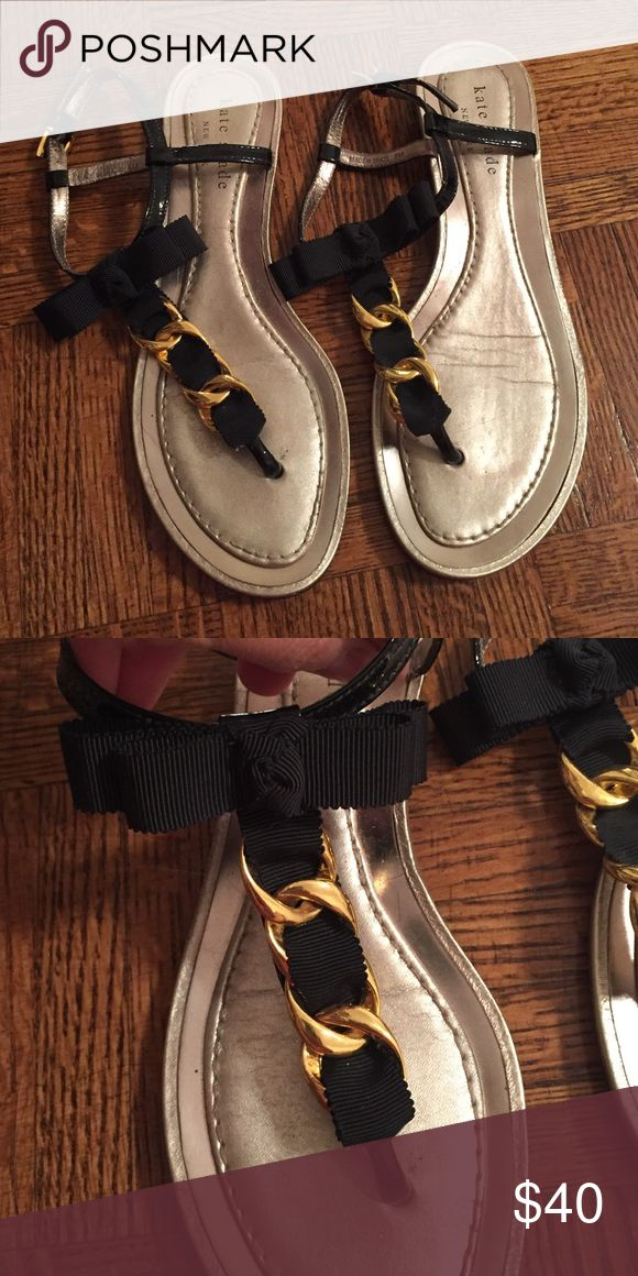Kate Spade sandals Precious Kate Spade thong sandals. Size 6. Black ribbon with gold chain. kate spade Shoes Sandals