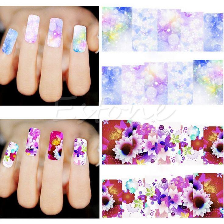 New 50 Sheets Nail Art Flower Wrap Water Transfer Slide Flower Decals Stickers
