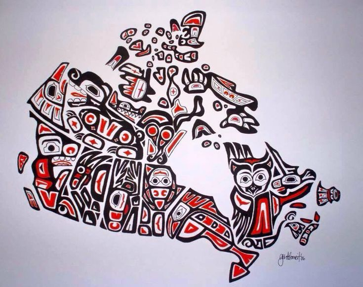 "Map of Canada. ""Our Home and Native Land"" By Jen Adomeit 2006, A Canadian Artist, school teacher with a degree in Geography from UNBC (2007) and Education from Vancouver Island University (2008). Her heritage includes Swiss, German, French Canadian and Ukrainian – but no Aboriginal ancestry. Fascinated by the striking artistic style of the Northwest Coast First Nations, she created this painting representative of that style, while taking a FN art class while attending UNBC,"