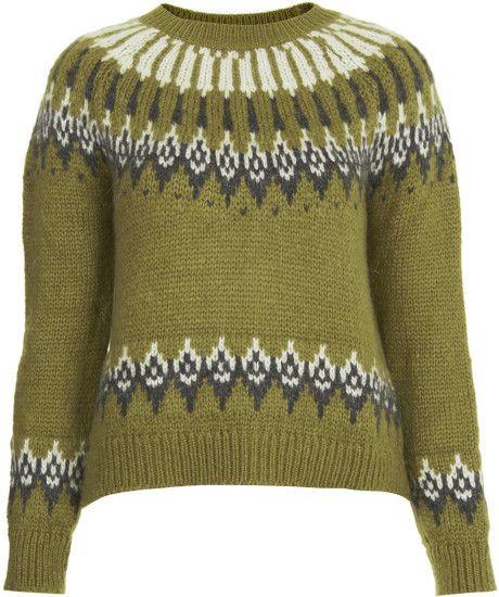 Women\u0027s Green Knitted Fairisle Yoke Jumper