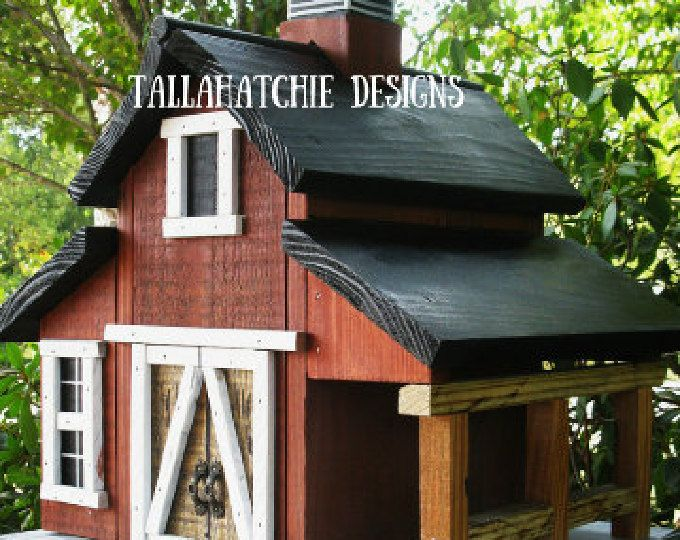 Granero Birdhouse - cajas nido rústicas cajas nido rojo granero Birdhouse Birdhouse-primitivo - Casa Decor - única de Navidad