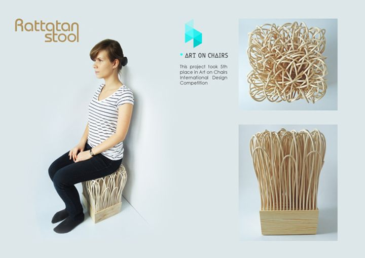 Rattatan Stool by Wiktoria Szawiel stool recyclable