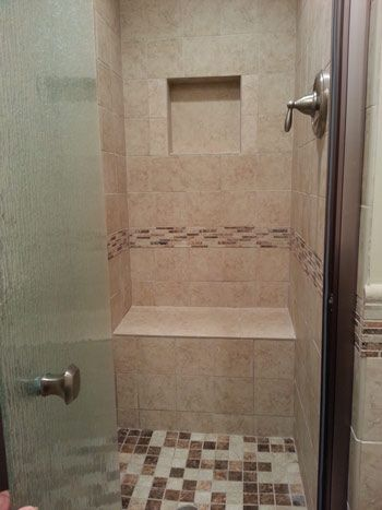 Tile work on shower walls  bench seat  inlay and floor. 10  images about Bathroom Tilework on Pinterest   Traditional