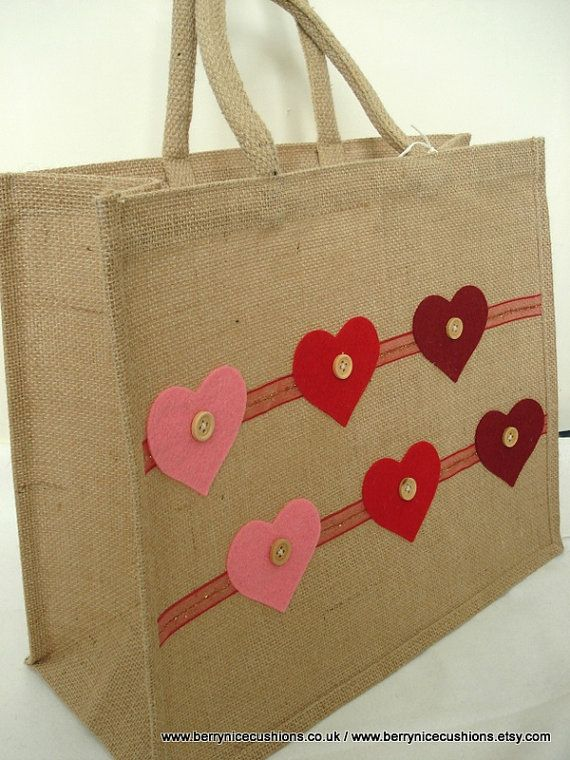 Large Hessian Shopper Tote Bag with Red Felt by BerryNiceCushions, £8.00