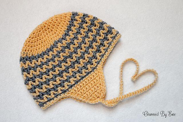 Free Crochet Zig Zag Hat Pattern : Zigzag Earflap Beanie pattern by Janaya Chouinard A ...