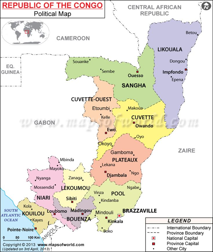Political #Map of Republic of the Congo