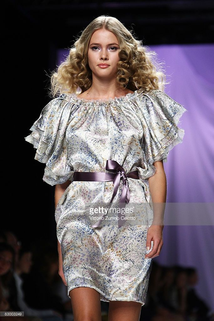 A model walks the runway during the Luisa Beccaria fashion show at Milan Fashion Week Spring/Summer 2009 on September 25, 2008 in Milan, Italy.