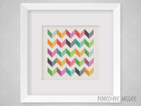 BRIGHT CHEVRON counted cross stitch pattern by PineconeMcGee
