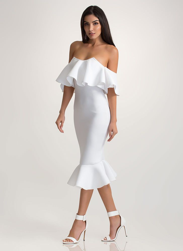 d23f273ea62f Evening Party Ruffled Off-Shoulder Dress WHITE