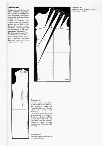 Illustration showing how to alter a standard sheath dress pattern to create a pattern with multiple pleats on one shoulder.