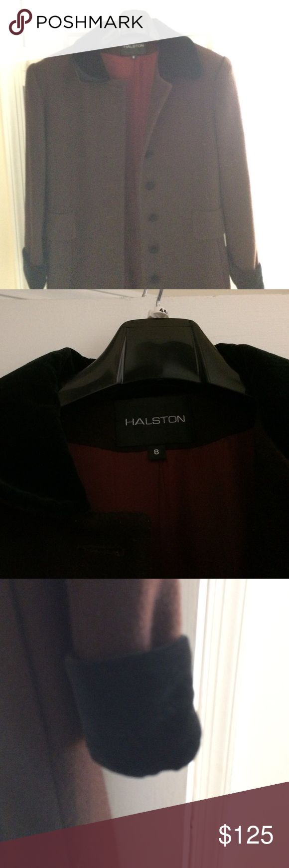 Vintage Halston Wool Winter Coat This is a gorgeous size 8 Halston full-length winter wool coat with a velvet collar and cuffs. It also has velvet-covered buttons, two side pockets and is fully lined. It belonged to my grandmother but is in pristine shape. Halston Heritage Jackets & Coats