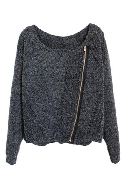 Love Love LOVE the Side Zipper! Cozy ROMWE | Zippered Dark-grey Jumper, The Latest Street Fashion #Cozy #Grey #Zipper #Knit #Sweater #Fall #Fashion