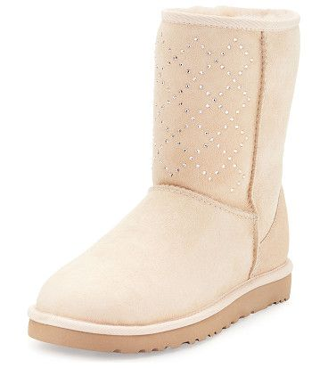 Classic short crystal suede boot by Ugg. UGG crystal-embellished calf suede boot. Dyed lamb shearling (Australia, UK, US or Ireland) fur lining. UGGpure 100% ...
