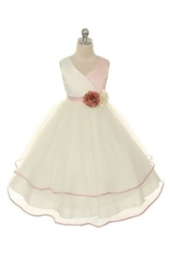 Effortless Beauty when you wear this dress! Our Girl's Rose Two Tone Satin Dress with Layered Tulle Skirt is the perfect Easter Dress for you Little Girl!