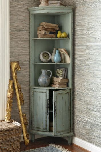 Maldives Corner Cabinet   Distressed Cabinet, Pale Green Cabinet, Open  Shelf Cabinet | Soft