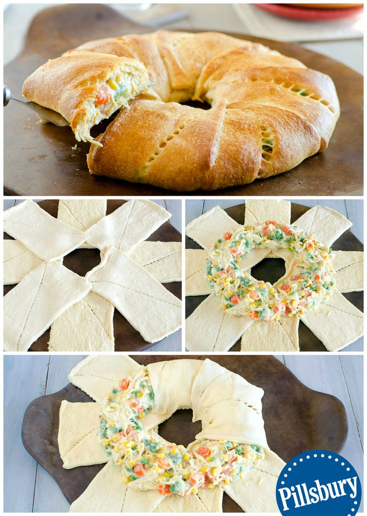 A fun twist on a family favorite! We LOVE this easy Chicken Pot Pie Crescent ring recipe.