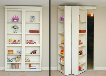 so cool for the basement, a bookcase that leads to the unfinished portion-I'd feel like BATMAN!!