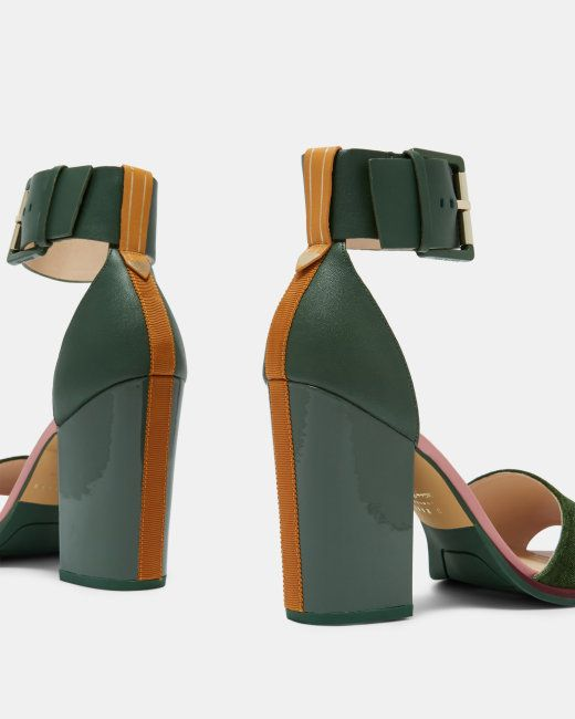 69dda57bf96a ERRITA Ted Baker block heel sandals in dark green