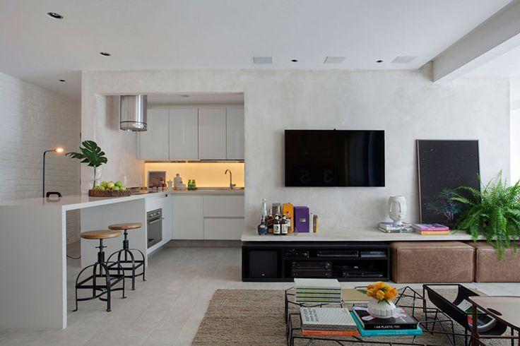 Apartamento pequeno com cimento queimado e tijolinho aparente - limaonagua