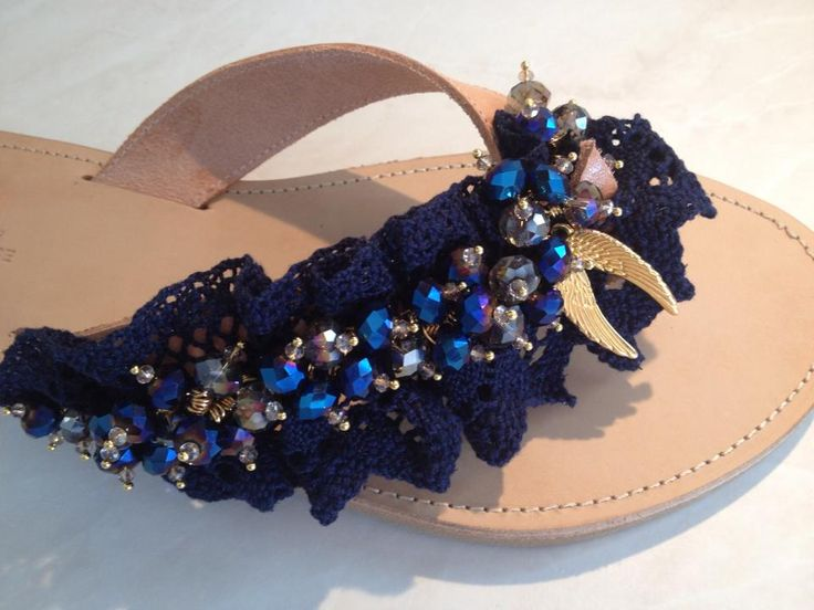 Navy colour style with precious stones Hellenic Handmade Sandal by Katerina & Angeliki Pipi