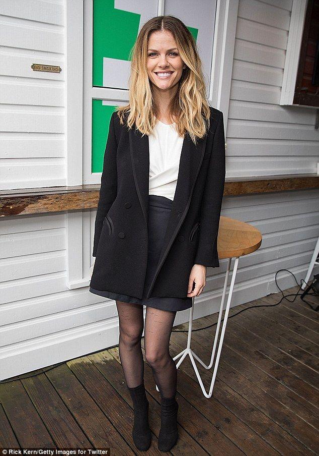 SXSW festivities: Brooklyn Decker donned a leggy look for Twitter's #SheInspiresMe brunch at Bar 96 near her Austin home in Texas Saturday