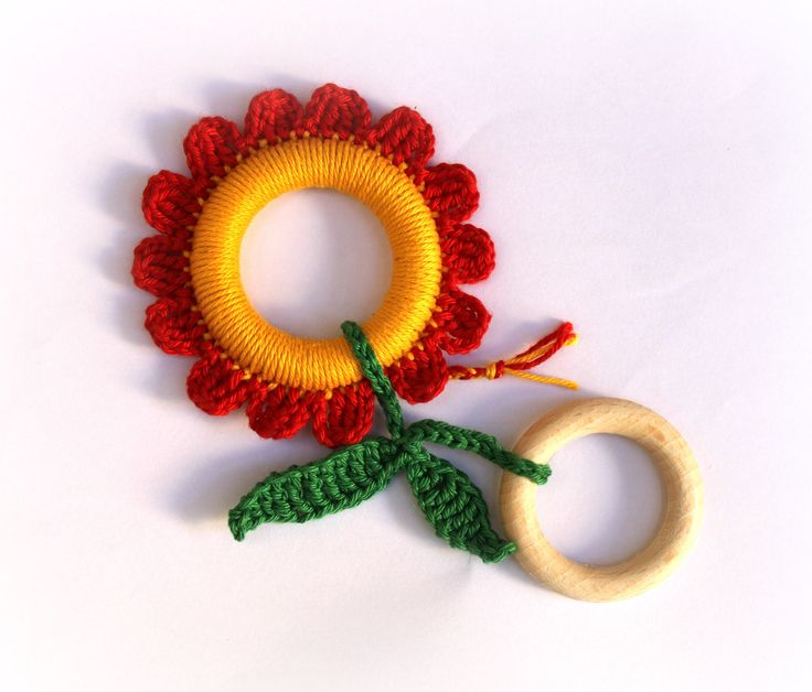 can make?? --- Red Flower Baby Teething Ring / Crochet toy / Fine motor skills development toy / Chewing Toy. $15.00, via Etsy.