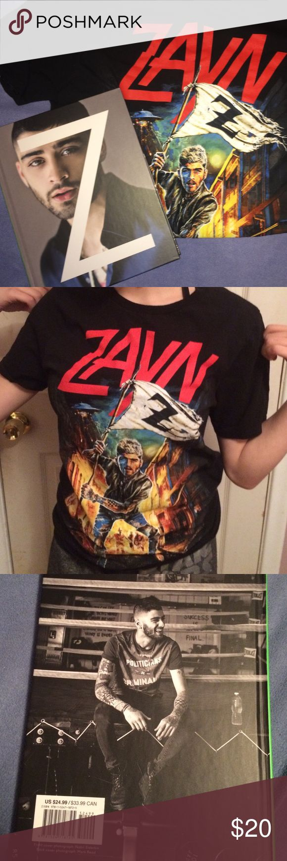 The Zayn Bundle This Zayn Malik bundle comes with an oversized Zayn T-Shirt and Zayn's biography. I cut off the tag on the shirt. Small, but fits more medium. Got it from Hot Topic. All of my earnings go towards Syrian charity organizations (The Syrian Project, Mercy Corps, One Nation) that aid those who have lost everything. Zayn Tops Tees - Short Sleeve