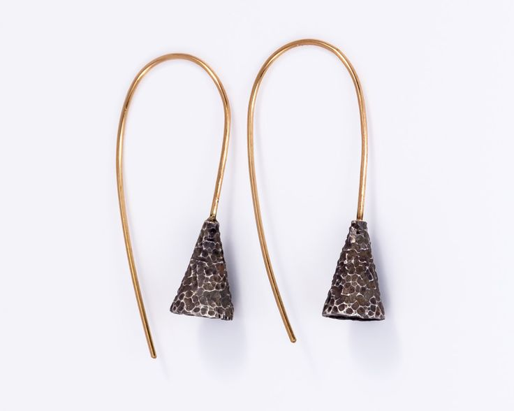 Cone hammered silver earrings - Sterling silver, Gold-filled silver by JackAssayagJewelry on Etsy