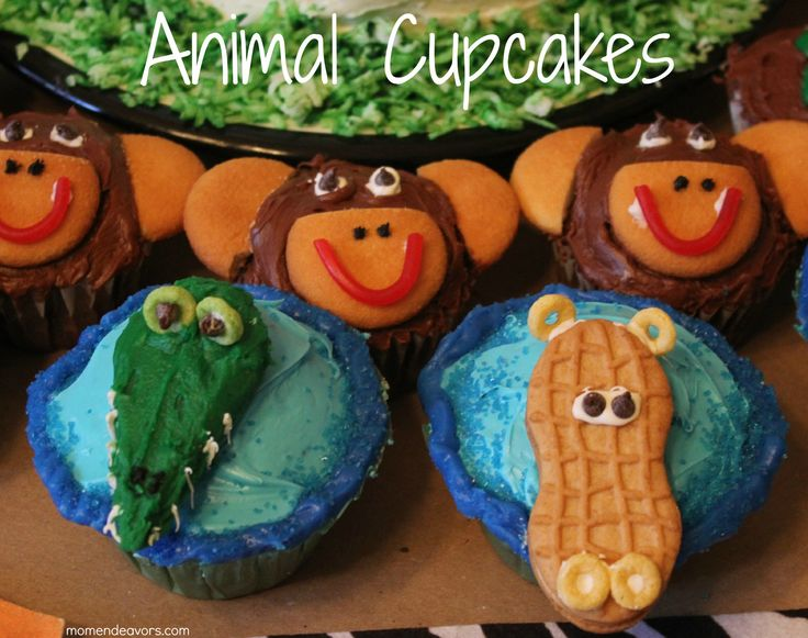 Jungle Animal Cupcakes via Mom Endeavors
